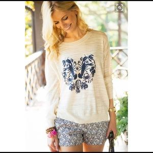 Madewell Lobster Heart Crewneck White Sweater